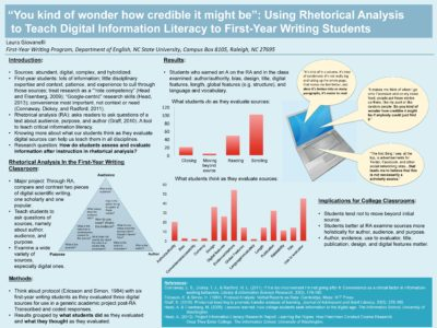 """""""You kind of wonder how credible it might be"""": Using Rhetorical Analysis to Teach Digital Information Literacy to First-Year Writing Students (Laura Giovanelli)"""