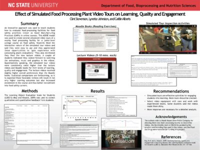Effect of Simulated Food Processing Plant Video Tours on Learning, Quality and Engagement (Clint Stevenson, Lynette Johnston, and Caitlin Alberts)